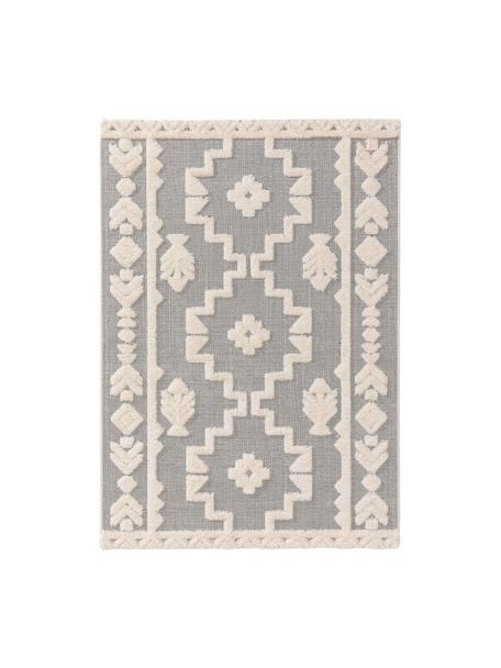 Alfombra texturizada de interior/exterior Carlo, estilo étnico, 100%polietileno, Gris, crema, An 80 x L 150 cm (Tamaño XS)