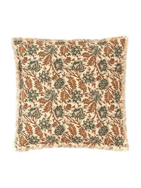 Poszewka na poduszkę z frędzlami Summerleaves, Bawełna, Kremowy, zielony, brązowy, S 50 x D 50 cm