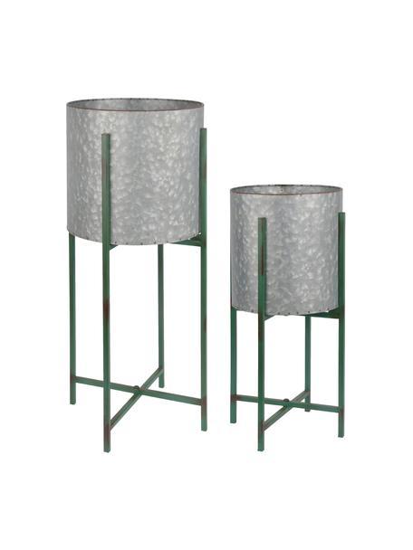 Set 2 portavasi con struttura Circles, Metallo rivestito, Grigio, verde, Set in varie misure