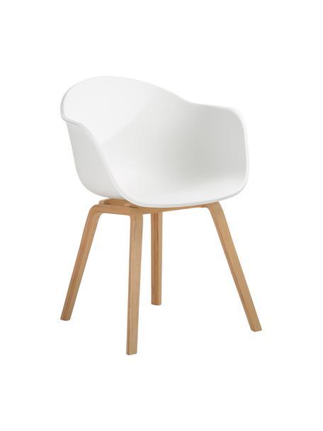Kunststoff-Armlehnstuhl Claire mit Holzbeinen, Sitzschale: Kunststoff, Beine: Buchenholz, Kunststoff Weiß, B 60 x T 54 cm