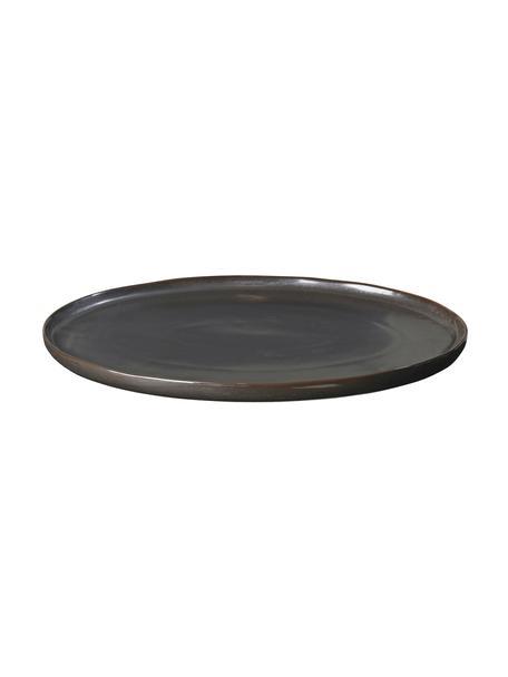 Piatto da portata fatto a mano Esrum Night, Terracotta smaltato, Marrone grigiastro lucido argenteo opaco, Larg. 39 x Prof. 26 cm