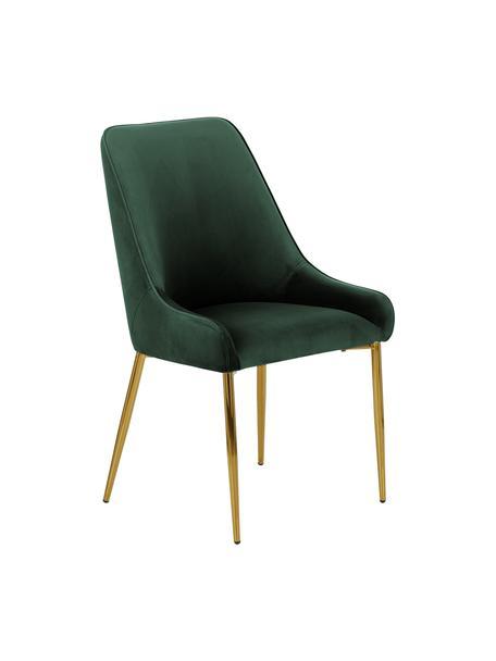 Sedia imbottita in velluto con gambe dorate Ava, Rivestimento: velluto (100% poliestere), Gambe: metallo zincato, Velluto verde scuro, Larg. 53 x Alt. 60 cm