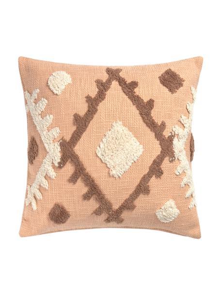 Poszewka na poduszkę boho Congo, 100% bawełna, Odcienie łososiowego, beżowy, taupe, S 45 x D 45 cm