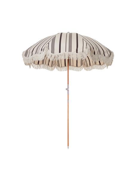 Parasol ogrodowy Retro, Stelaż: drewno naturalne, laminow, Czarny, złamana biel, Ø 180 x W 230 cm