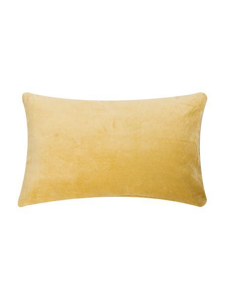 Cojín de terciopelo Velvet, con relleno, Parte superior: terciopelo de algodón, Parte trasera: lana, Azul, beige claro, An 30 x L 50 cm