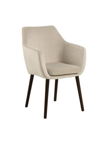Krzesło z podłokietnikami z aksamitu Nora, Tapicerka: aksamit poliestrowy Dzięk, Nogi: metal powlekany, Beżowy, czarny, S 58 x G 58 cm
