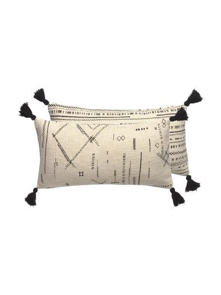 Federa arredo boho reversibile con nappe Kertes, 100% cotone, Nero, Larg. 30 x Lung. 60 cm