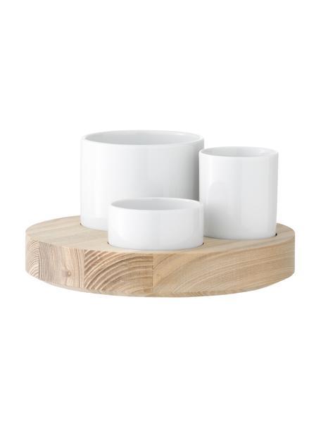 Set de botes Lotta, 4pzas., Cuencos: porcelana, Bandeja: madera de fresno, Blanco, fresno, Set de diferentes tamaños