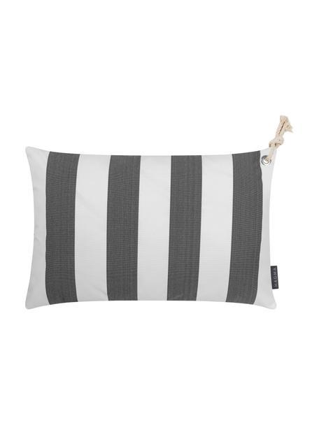 Gestreifte Outdoor-Kissenhülle Santorin in Grau/Weiß, 100% Polypropylen, Anthrazit, gebrochenes Weiß, 40 x 60 cm