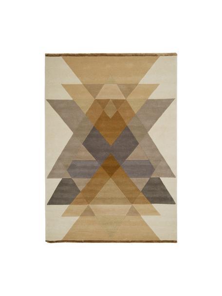 Handgetuft design vloerkleed Freya van wol, Bovenzijde: 95% wol, 5% viscose, Onderzijde: wol, Mosterdgeel, beige, grijs, bruin, B 140 x L 200 cm (maat S)