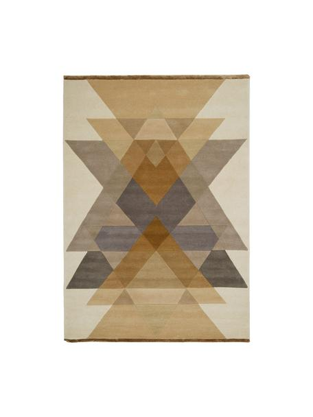 Alfombra artesanal de lana de diseño Freya, Parte superior: 95%lana, 5%viscosa, Reverso: lana, Mostaza, beige, gris, marrón, An 140 x L 200 cm (Tamaño S)