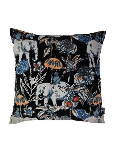 Samt-Kissen Elephant, mit Inlett, Bezug: 100% Baumwolle, Schwarz, Mehrfarbig, 45 x 45 cm