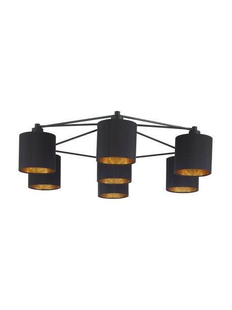 Grote plafondlamp Staiti in zwart, Lampenkap: polyester, Zwart, Ø 84 x H 24 cm