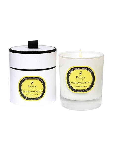 Vela perfumada Aromatherapy (limoncillo y menta), Recipiente: cristal, Blanco, Ø 8 x Al 9 cm
