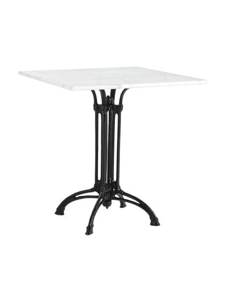 Tuintafel Loren, Tafelblad: marmer, Frame: gecoat staal, Zwart, wit, gemarmerd, 70 x 71 cm