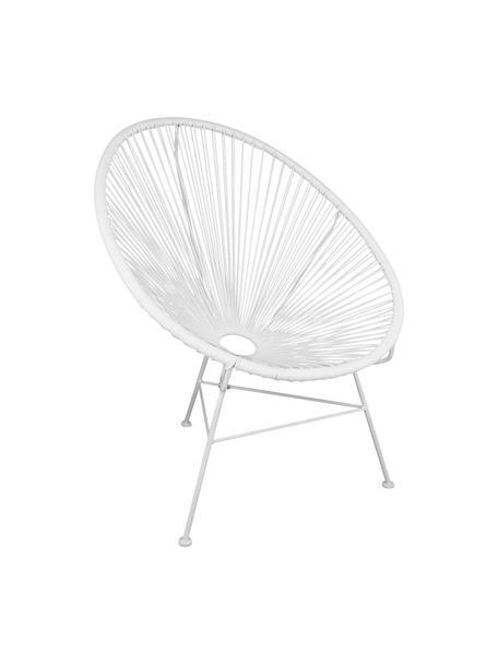 Loungesessel Bahia aus Kunststoff-Geflecht, Sitzfläche: Kunststoff, Gestell: Metall, pulverbeschichtet, Kunststoff: Weiss. Gestell: Weiss, B 81 x T 73 cm