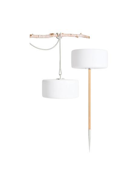 Mobile Außenleuchte Thierry zum Stecken oder Hängen, Lampenschirm: Kunststoff, Weiß, Hellgrau, Ø 41 x H 21 cm