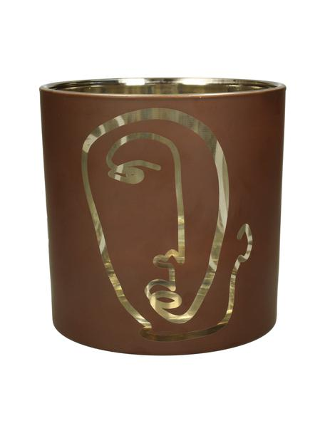 Waxinelichthouder Zircon, Glas, Bruin, goudkleurig, Ø 15 x H 15 cm