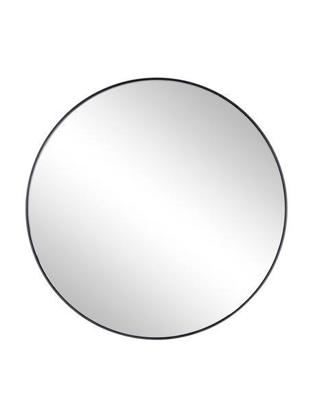 Specchio rotondo da parete con cornice in metallo nero Nucleos, Cornice: metallo rivestito, Superficie dello specchio: lastra di vetro, Nero, Ø 70 cm