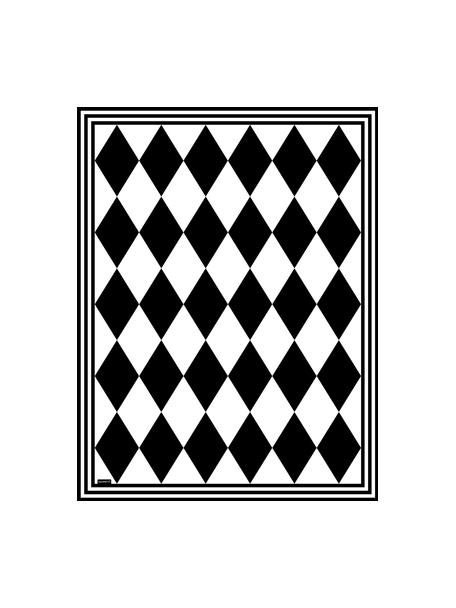 Tappetino antiscivolo nero/bianco in vinile Bobby II, Vinile riciclabile, Nero, bianco, Larg. 65 x Lung. 85 cm