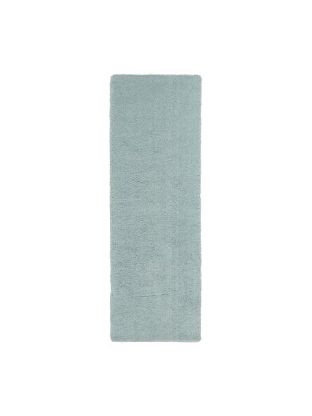 Alfombra de pelo largo Leighton, Parte superior: 100%poliéster (microfibr, Reverso: 70%poliéster, 30%algodó, Verde menta, An 80 x L 250 cm