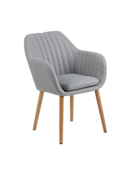 Krzesło tapicerowane z podłokietnikami Emilia, Tapicerka: poliester, Nogi: drewno dębowe, olejowane , Tkanina jasny szary Nogi drewno dębowe, S 57 x G 59 cm