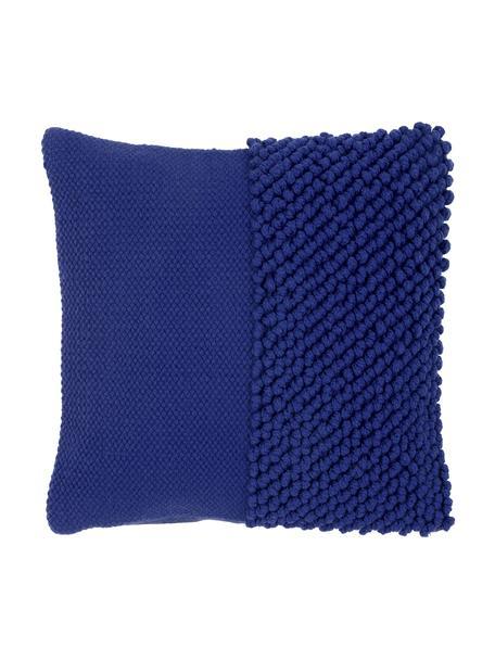 Federa arredo con superficie strutturata Andi, 90% acrilico, 10% cotone, Blu, Larg. 40 x Lung. 40 cm