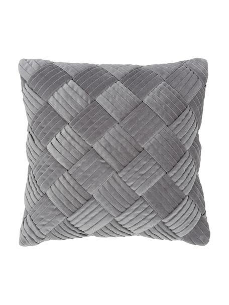 Fluwelen kussenhoes Sina in donkergrijs met structuurpatroon, Fluweel (100% katoen), Grijs, 45 x 45 cm