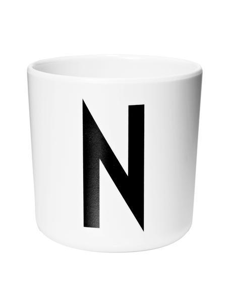 Taza infantil Alphabet (variantes de A a Z), Melamina, Blanco, negro, Taza N