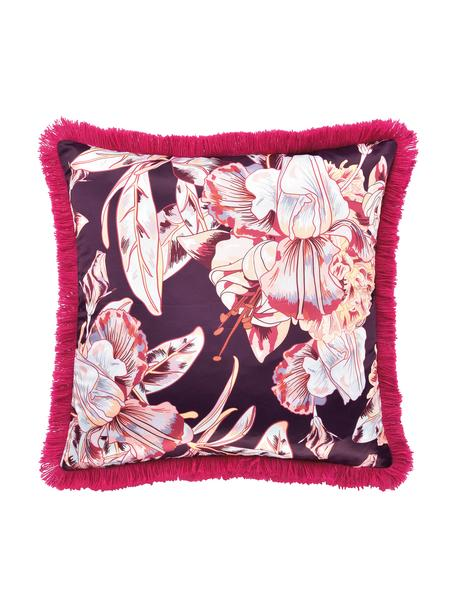 Kissenhülle Paradise in Lila/Pink mit Satin-Finish und Fransen, Polyester, fuchsia, 40 x 40 cm