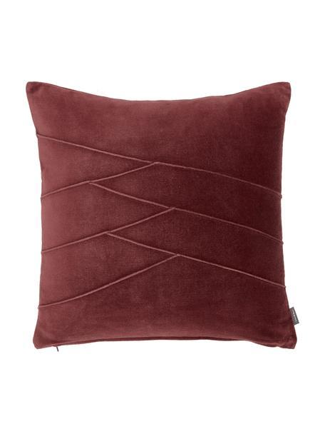 Samt-Kissen Pintuck in Rot mit erhabenem Strukturmuster, mit Inlett, Bezug: 55% Rayon, 45% Baumwolle, Webart: Samt, Bordeauxrot, 45 x 45 cm