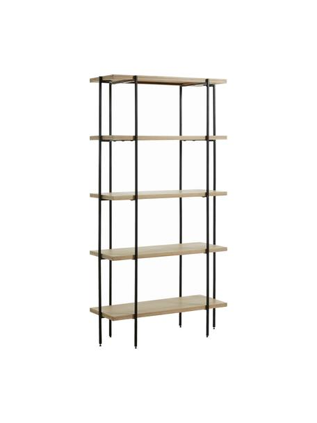 Libreria in legno e metallo Palmia, Struttura: metallo verniciato, Ripiani: legno di mango massiccio, Nero, marrone, Larg. 100 x Alt. 191 cm