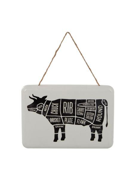Metalen wandschild Cow, Gecoat metaal, Wit, zwart, 31 x 22 cm