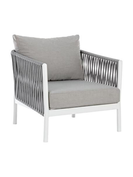 Sillón para exterior Florencia, Estructura: aluminio con pintura en p, Asiento: poliéster, Gris, blanco, An 80 x F 85 cm