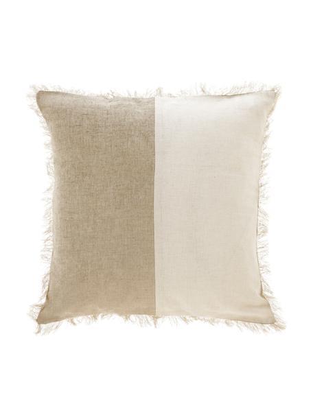 Gemusterte Kissenhülle Silene mit Fransen, 100% Baumwolle, Beige, 45 x 45 cm