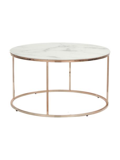 Couchtisch Antigua mit marmorierter Glasplatte, Tischplatte: Glas, matt bedruckt, Gestell: Stahl, vermessingt, Weiß-grau marmoriert, Roségoldfarben, Ø 80 x H 45 cm