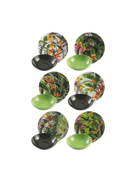 Set 18 piatti per 6 persone Tropical Jungle, Multicolore, Set in varie misure