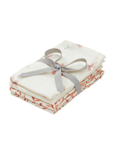 Set de toallitas de tela de algodón ecológico Wildflower, 4pzas., 100%algodón ecológico, Crema, rosa, naranja, An 30 x L 30 cm