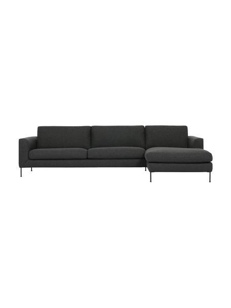 Ecksofa Cucita (4-Sitzer) in Anthrazit mit Metall-Füßen, Bezug: Webstoff (Polyester) Der , Gestell: Massives Kiefernholz, Füße: Metall, lackiert, Webstoff Anthrazit, B 302 x T 163 cm