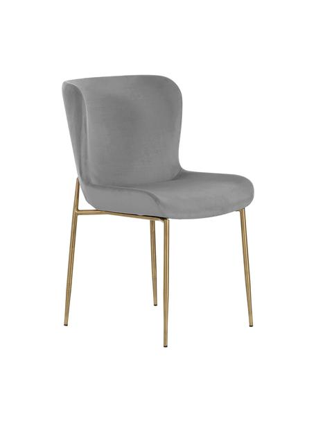 Fluwelen stoel Tess, Bekleding: fluweel (polyester), Poten: gepoedercoat metaal, Fluweel grijs, poten goudkleurig, B 49 x D 64 cm