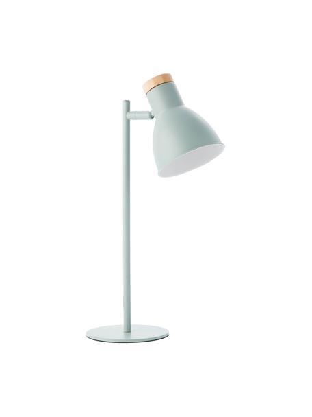 Bureaulamp Venea met houten decoratie, Lampenkap: metaal, Lampvoet: metaal, Decoratie: hout, Mintgroen, houtkleurig, Ø 15 cm