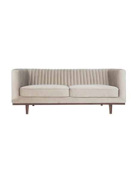 Fluwelen bank Dante (2-zits), Bekleding: polyesterfluweel, Frame: gelakt rubberhout, Geweven stof beige, B 174 x D 87 cm