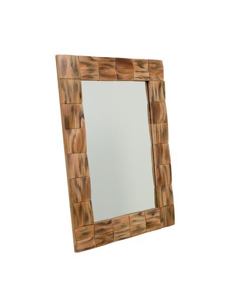 Espejo con marco de madera Mateo, Espejo: cristal, Marrón, beige, An 62 x Al 84 cm