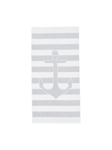 Gestreept strandlaken Anon met ankermotief, Katoen Lichte kwaliteit 380 g/m², Grijs, wit, 80 x 160 cm