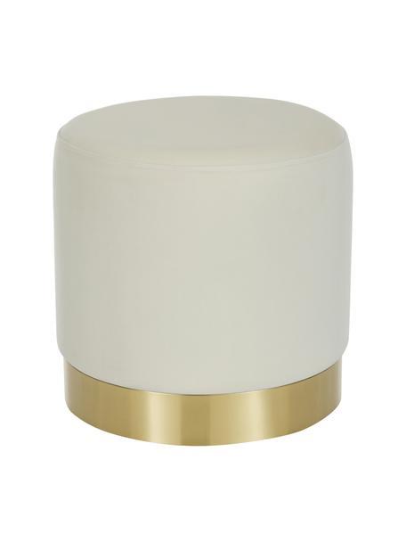Puf de terciopelo Orchid, Tapizado: terciopelo (100%poliéste, Estructura: cartón, madera contrachap, Blanco crema, dorado, Ø 38 x Al 38 cm