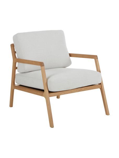 Fauteuil Becky van eikenhout, Bekleding: polyester, Frame: massief eikenhout, Geweven stof beige, eikenhoutkleurig, B 73 x D 90 cm