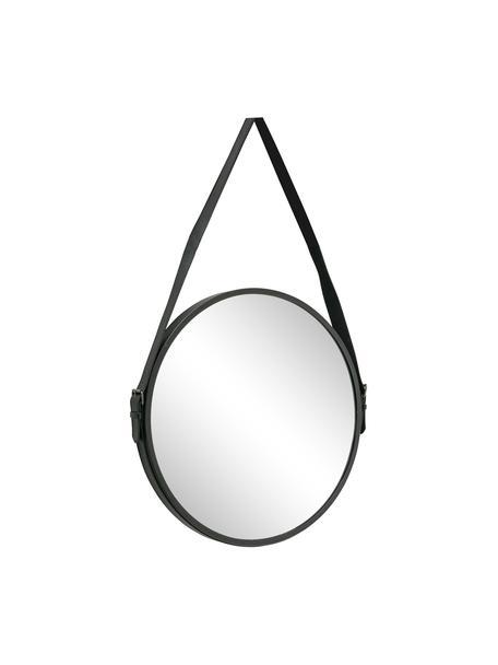 Runder Wandspiegel Paso mit Metallrahmen, Metall, Spiegelglas, Schwarz, 48 x 73 cm