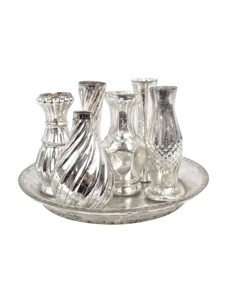 Glasvasen-Set Poesie, 7-tlg., Glas, Silberfarben, Set mit verschiedenen Grössen