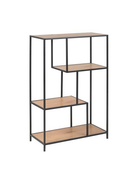 Libreria in legno e metallo Seaford, Mensole: pannello di fibra a media, Struttura: metallo verniciato a polv, Marrone, Larg. 77 x Alt. 114 cm