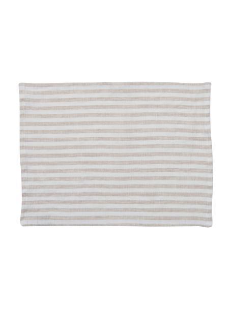 Podkładka z lnu Solami, 2 szt., Len, Beżowy, biały, S 35 x D 45 cm